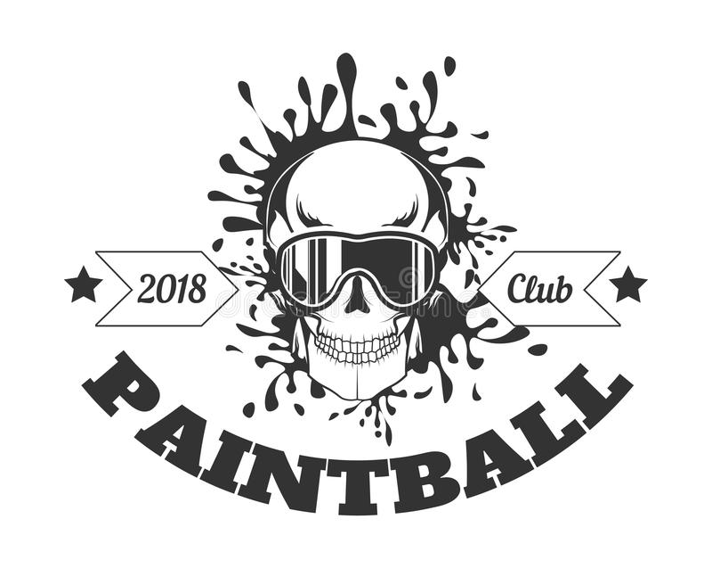 Paintball klubu 2018 monochromatyczny logotyp z czaszką w masce royalty ilustracja