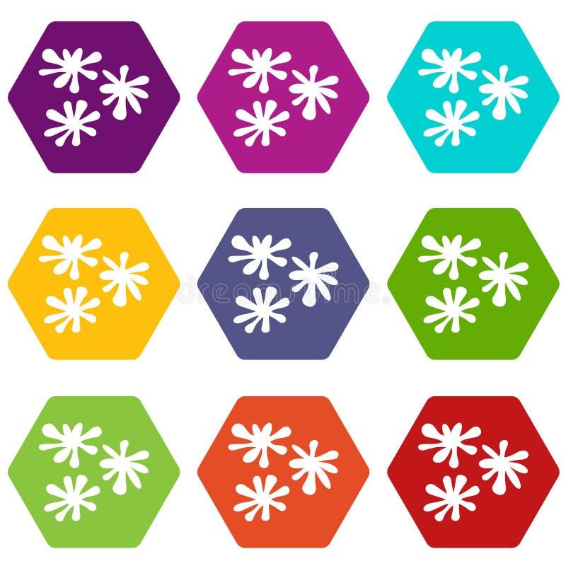 Paintball kropli ikony koloru ustalony sześciobok ilustracja wektor