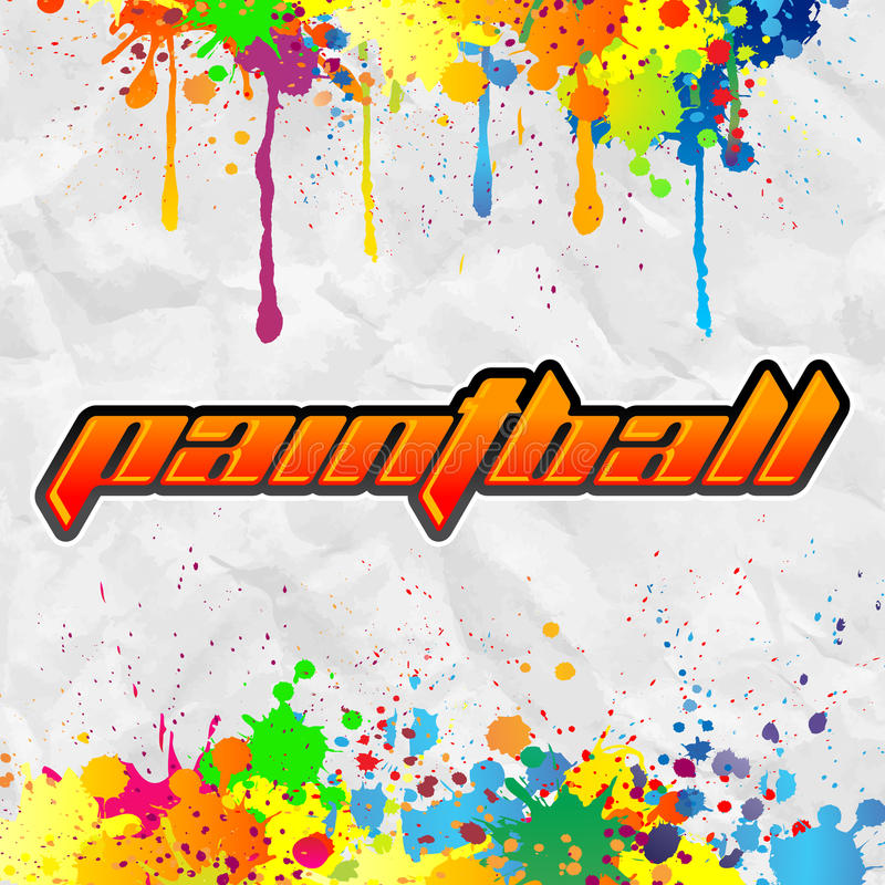 Paintball literowanie - kolorowy sztandar ilustracja wektor