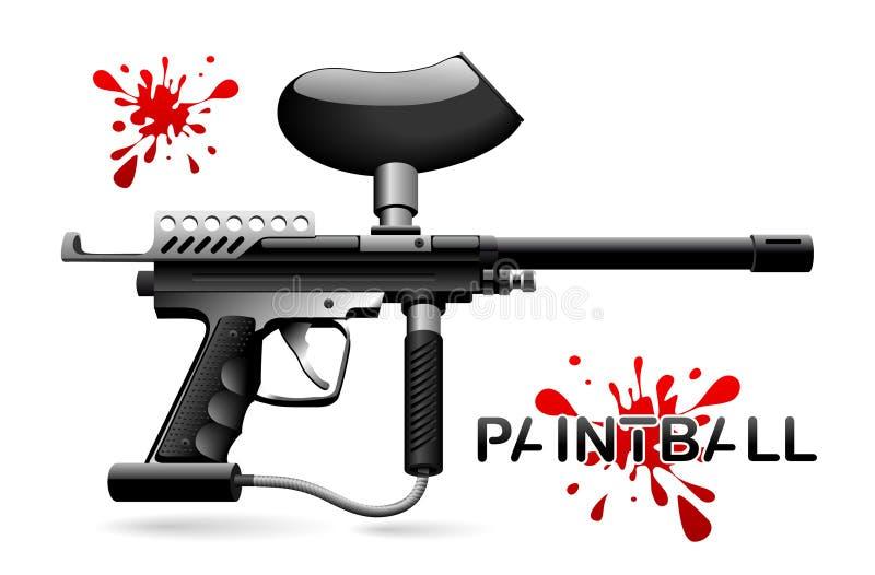 Paintball marker. Black vector paintball marker with Blob vector illustration