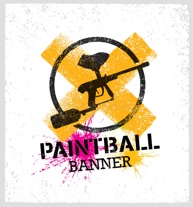 Paintball Marker Gun Vector Splat Banner on Grunge Background royalty free illustration