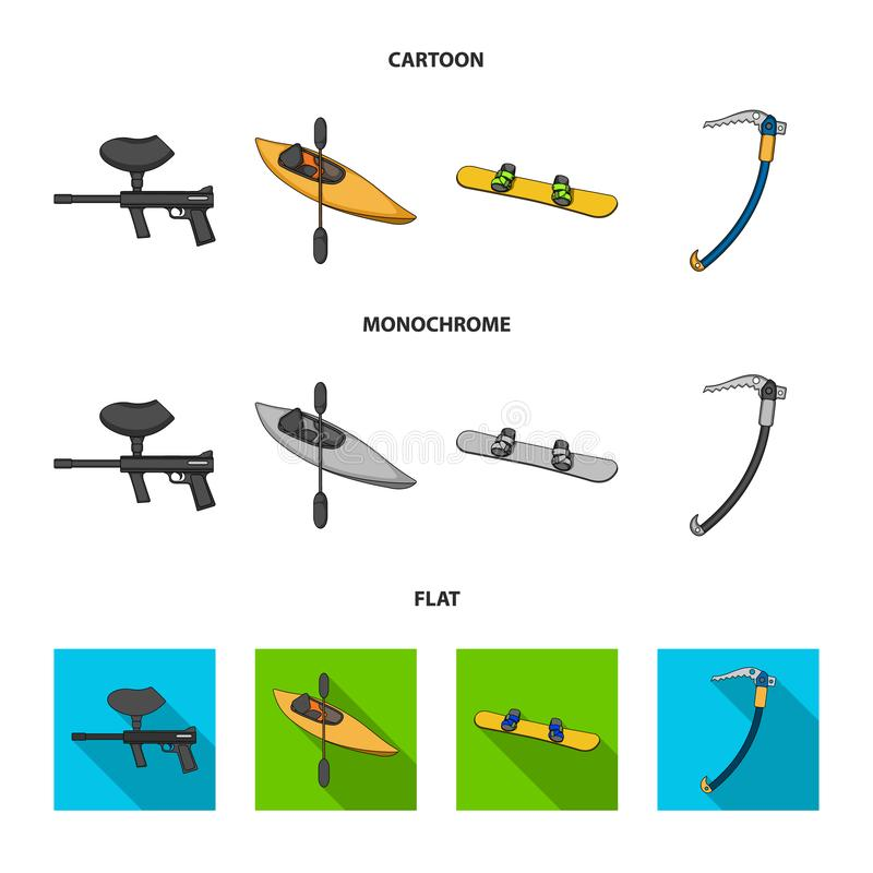 Paintball marker, kayak with a paddle, snowboard and climbing ice ax.Extreme sport set collection icons in cartoon,flat vector illustration