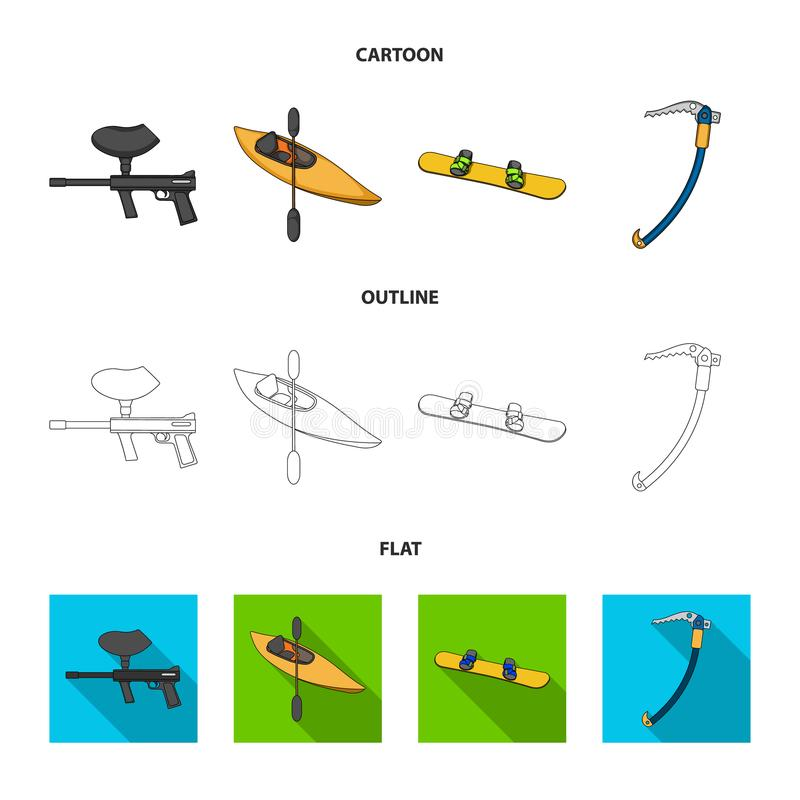 Paintball marker, kayak with a paddle, snowboard and climbing ice ax.Extreme sport set collection icons in cartoon royalty free illustration