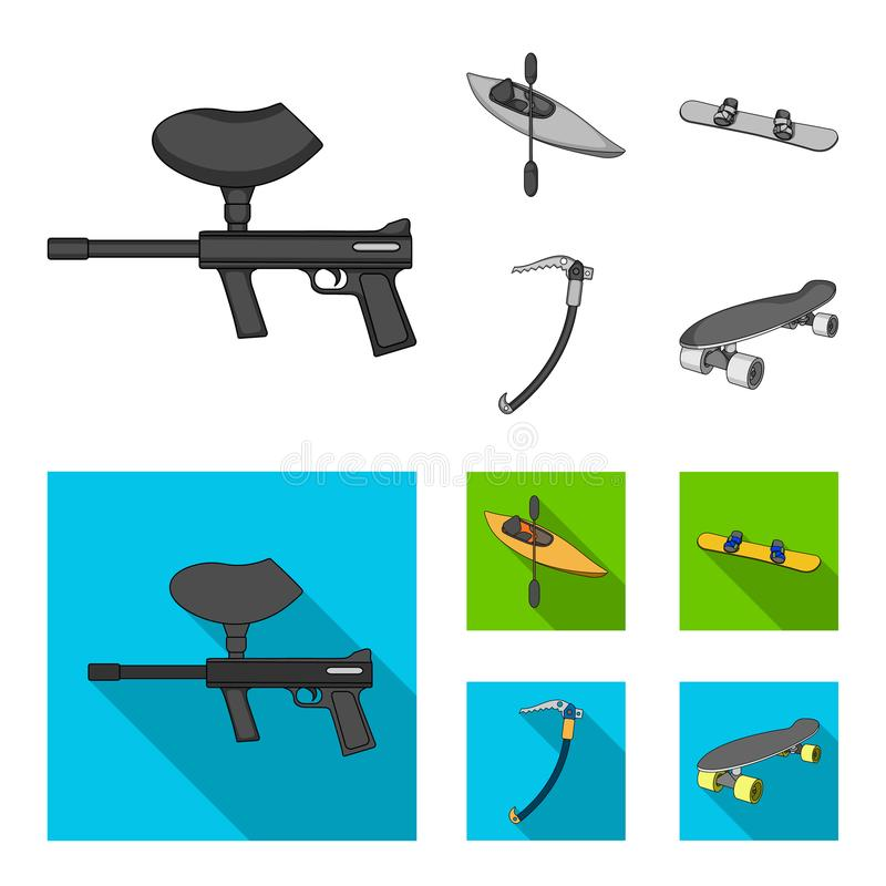 Paintball marker, kayak with a paddle, snowboard and climbing ice ax.Extreme sport set collection icons in monochrome stock illustration