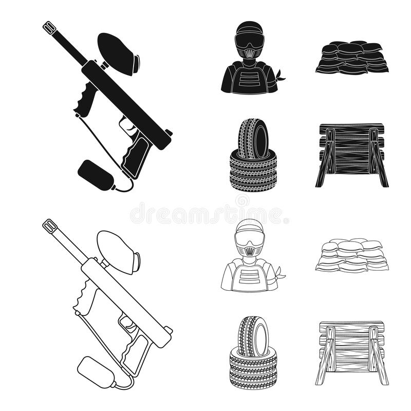 Paintball marker, player and other accessories. Paintball single icon in black,outline style vector symbol stock vector illustration