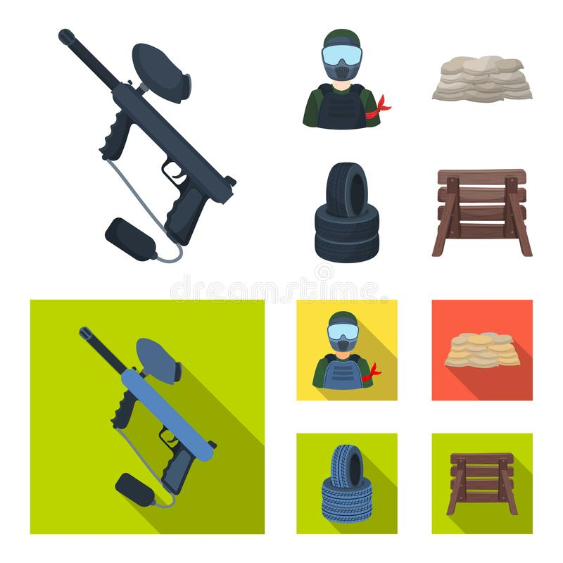 Paintball marker, player and other accessories. Paintball single icon in cartoon,flat style vector symbol stock royalty free illustration