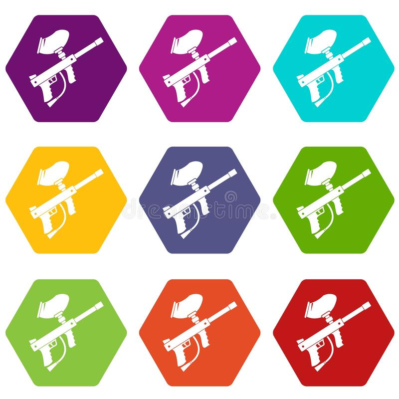 Paintball markiera ikony koloru ustalony sześciobok royalty ilustracja