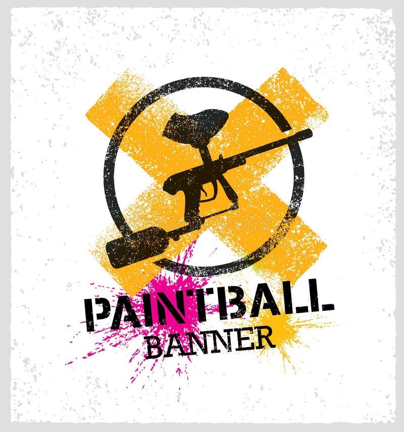 Paintball markiera pistoletu Splat Wektorowy sztandar na Grunge tle royalty ilustracja