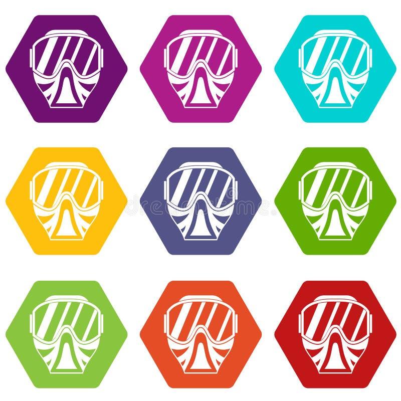 Paintball maskowej ikony koloru ustalony sześciobok ilustracja wektor