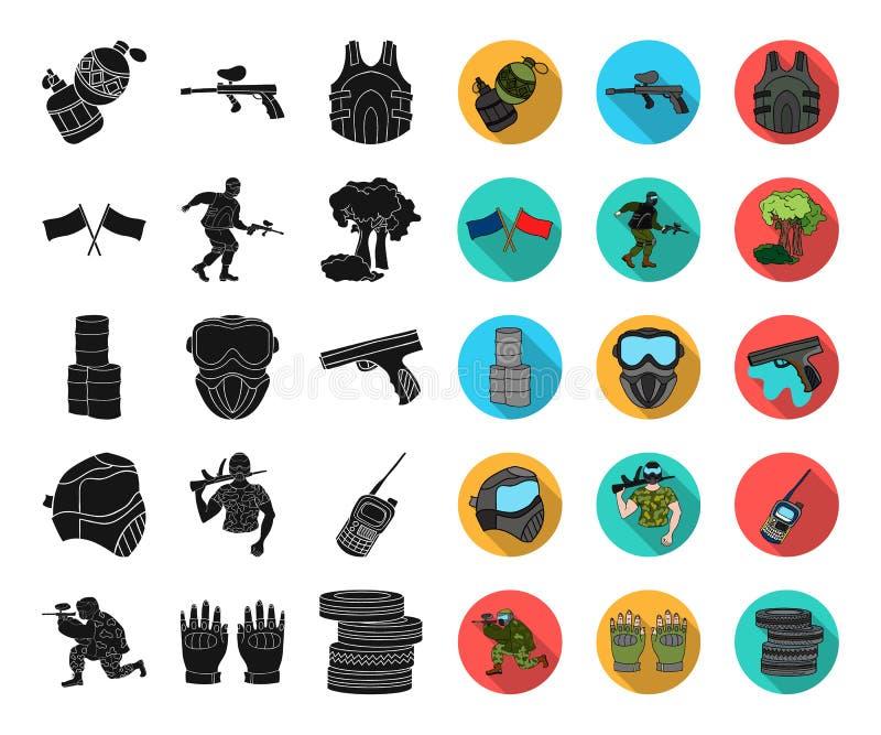 Paintball, noir de jeu d'équipe, icônes plates dans la collection réglée pour la conception Web d'actions de symbole de vecteur d illustration stock