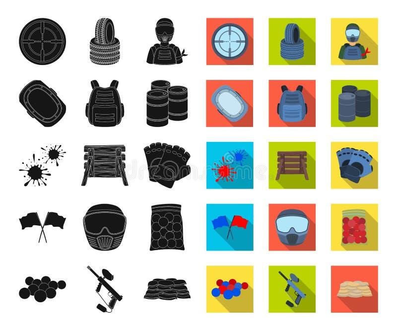 Paintball, noir de jeu d'équipe, icônes plates dans la collection réglée pour la conception Web d'actions de symbole de vecteur d illustration libre de droits