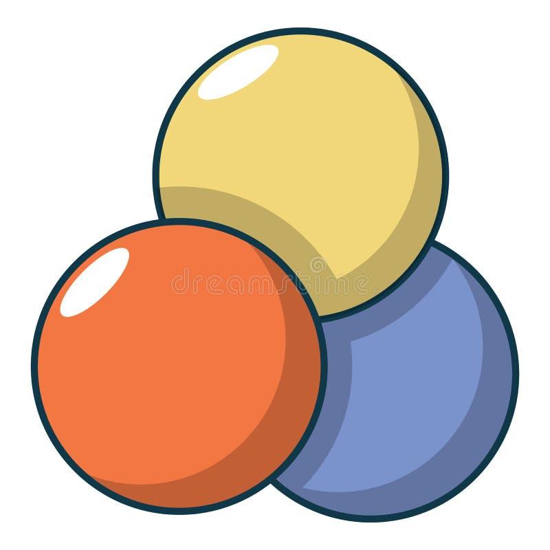 Paintball piłki ikony, kreskówka styl royalty ilustracja