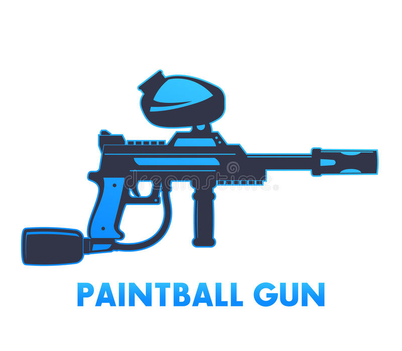Paintball pistolet na białej, wektorowej ilustraci, ilustracja wektor