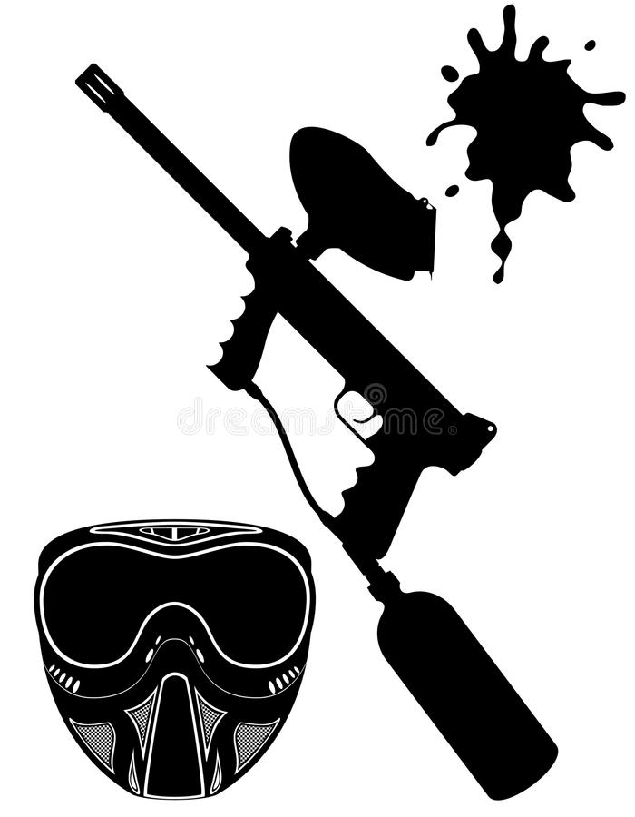 Paintball Set Black Silhouette Vector Illustration Royalty Free Stock Photography