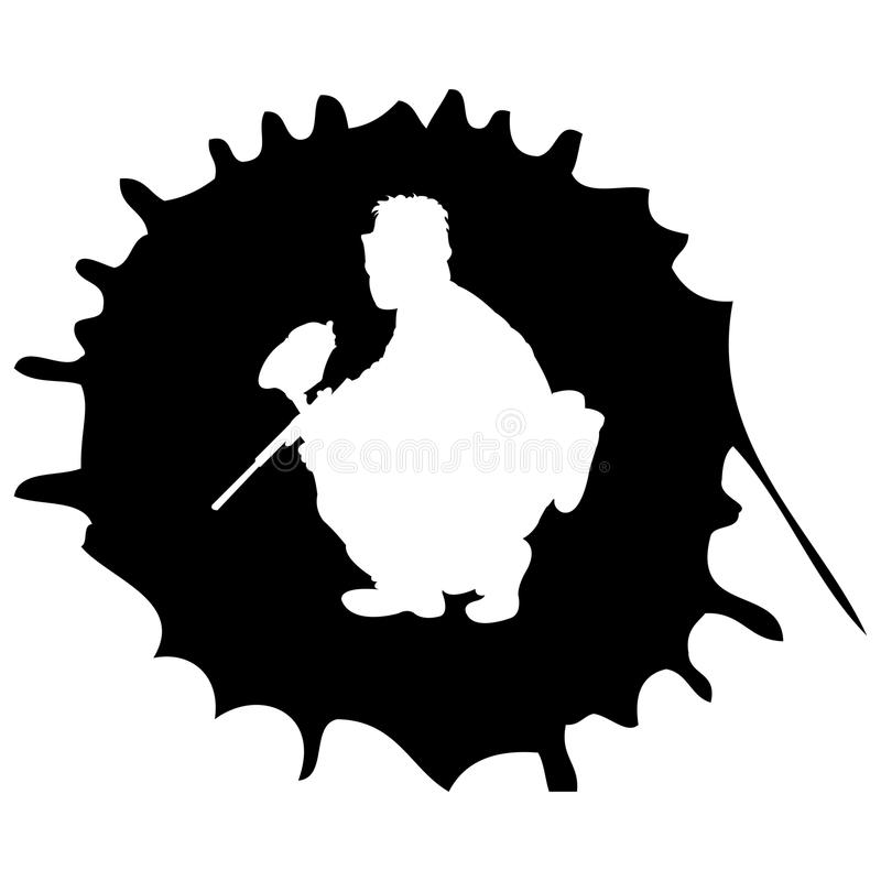 Paintball silhouette into the drop stock illustration