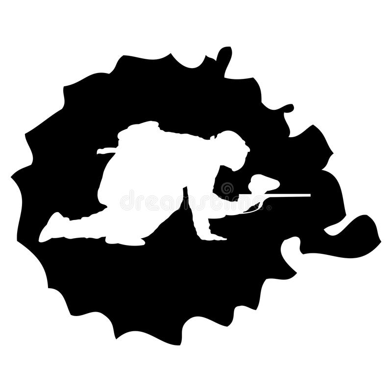 Paintball silhouette into the drop royalty free illustration