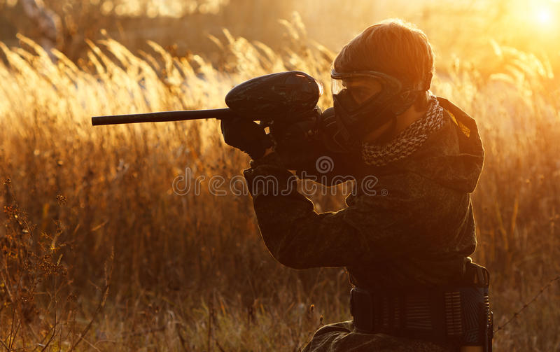 Paintball sport player royalty free stock images