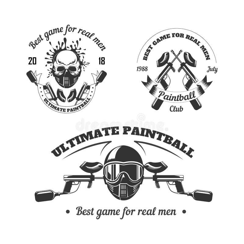 Paintball sporta klubu loga gemowi szablony gamer strzelanina celują piłka pistolet lub malują ilustracji