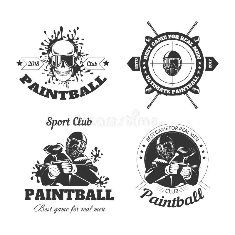 Paintball sporta klubu loga gemowi szablony gamer strzelanina celują piłka pistolet lub malują ilustracja wektor
