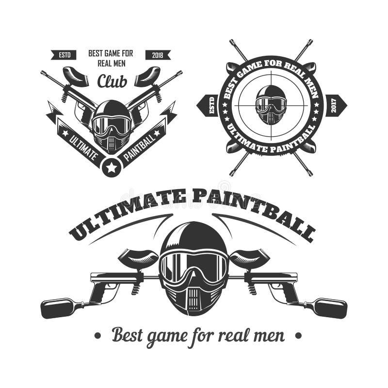 Paintball sporta klubu loga gemowi szablony gamer strzelanina celują piłka pistolet lub malują royalty ilustracja