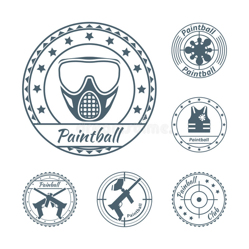 Paintball symbole ustawiający ilustracja wektor