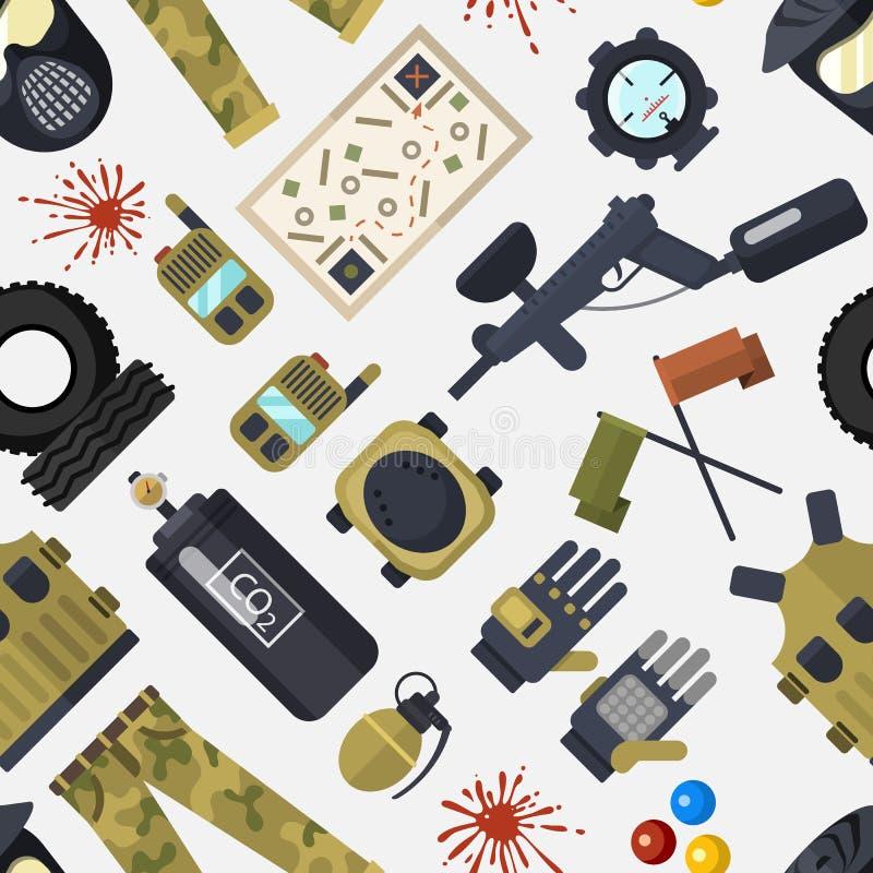 Paintball symboli/lów ikon ochrony munduru i sporta gemowego projekta elementów wyposażenia świetlicowy bezszwowy deseniowy wekto ilustracja wektor