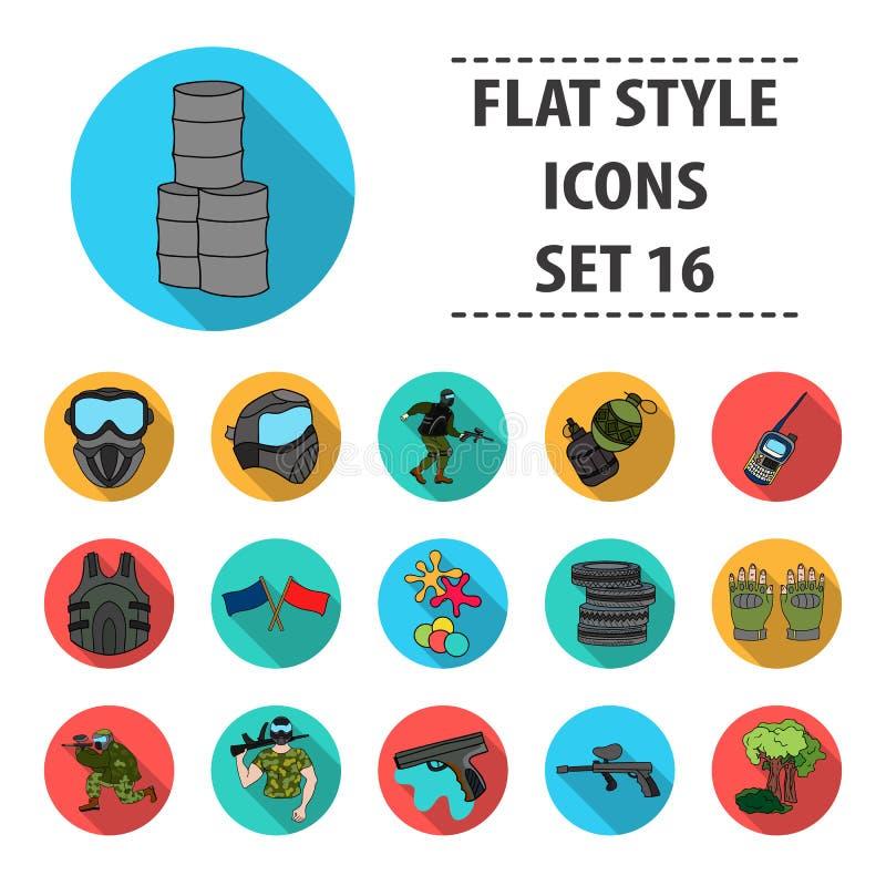 Paintball ustalone ikony w mieszkanie stylu Duża kolekcja paintball symbolu zapasu wektorowa ilustracja royalty ilustracja