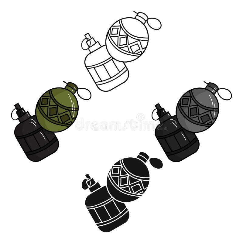 Paintballhandgranatenikone in der Karikatur, schwarze Art lokalisiert auf weißem Hintergrund Paintballsymbol-Vorratvektor lizenzfreie abbildung