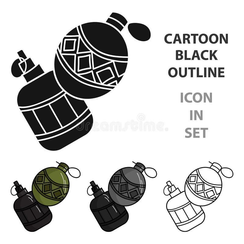 Paintballhandgranatenikone in der Karikaturart lokalisiert auf weißem Hintergrund Paintballsymbolvorrat-Vektorillustration vektor abbildung