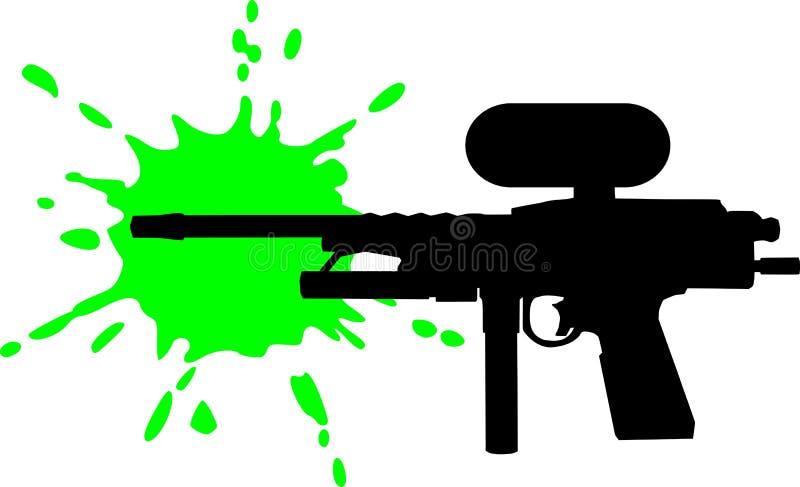 Paintballkanon met groene plons royalty-vrije illustratie