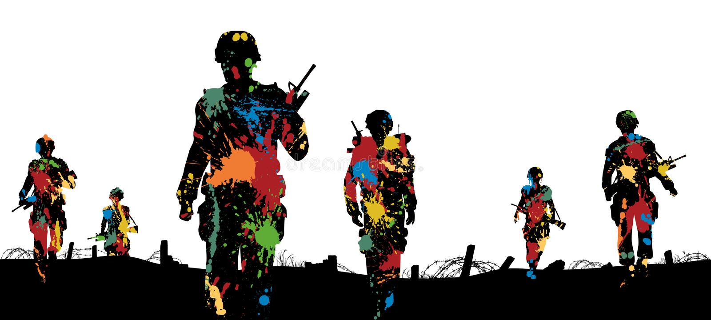 Paintballsoldater stock illustrationer