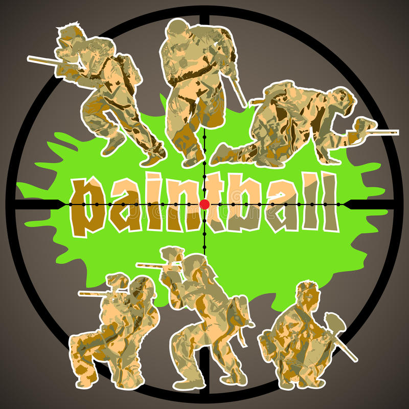 Paintballspelare vektor illustrationer