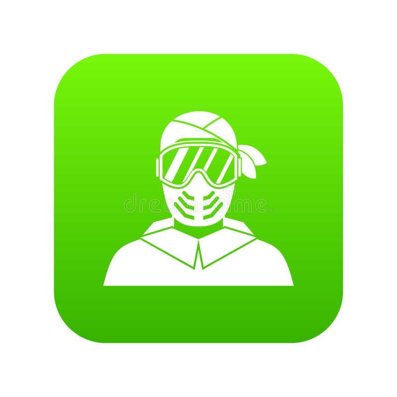 Paintballspeler die beschermende digitale groen van het maskerpictogram dragen stock illustratie