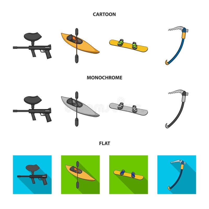 Paintballteller, kajak met een peddel, snowboard en beklimmend ijsbijl De extreme pictogrammen van de sport vastgestelde inzameli vector illustratie