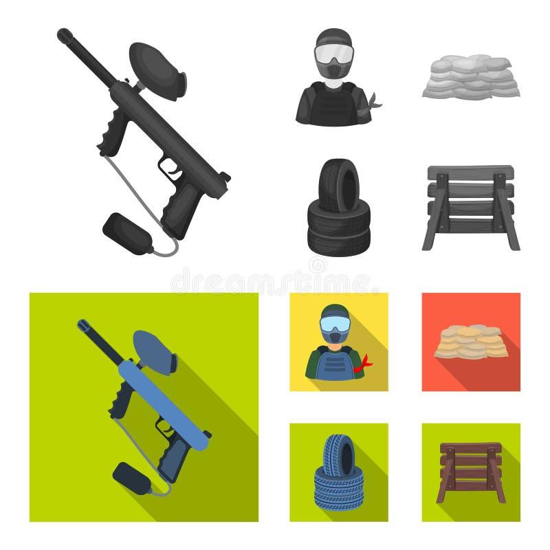Paintballteller, speler en andere toebehoren Paintball enig pictogram in de zwart-wit, vlakke voorraad van het stijl vectorsymboo vector illustratie