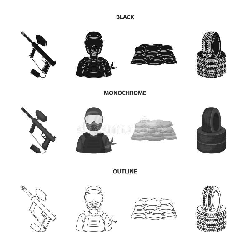 Paintballteller, speler en andere toebehoren Paintball enig pictogram in het zwarte, zwart-wit, vectorsymbool van de overzichtsst stock illustratie