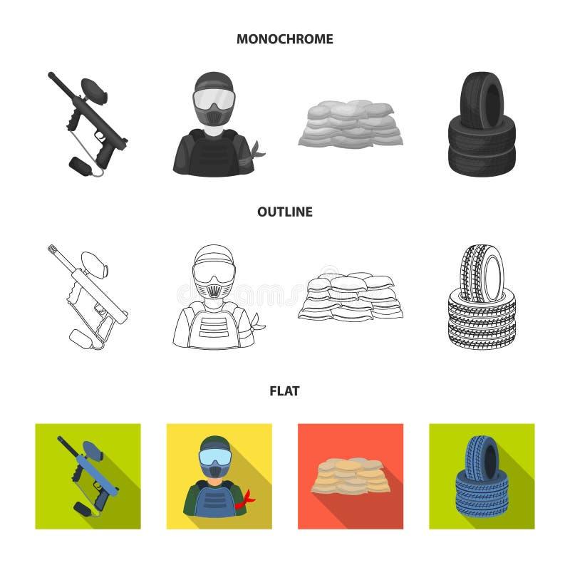 Paintballteller, speler en andere toebehoren Paintball enig pictogram in vlakte, overzicht, zwart-wit stijl vectorsymbool stock illustratie