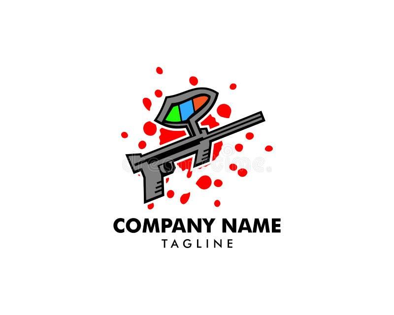 Paintballvapen Logo Template Design vektor illustrationer