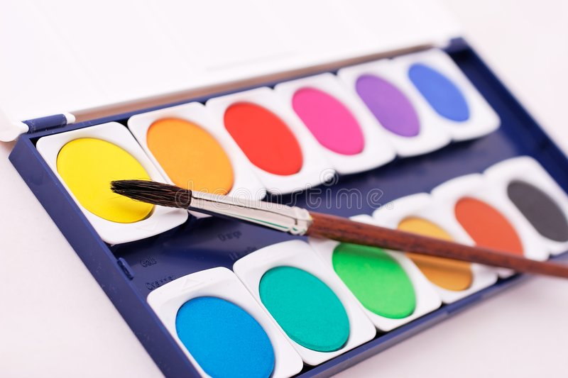 Paintbox with brush royalty free stock image