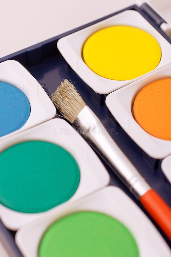 Paintbox met borstel stock afbeelding