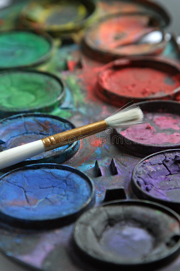 Paintbox, Water color stock images