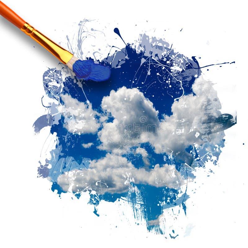 Paintbrush крася красивое небо стоковое фото rf