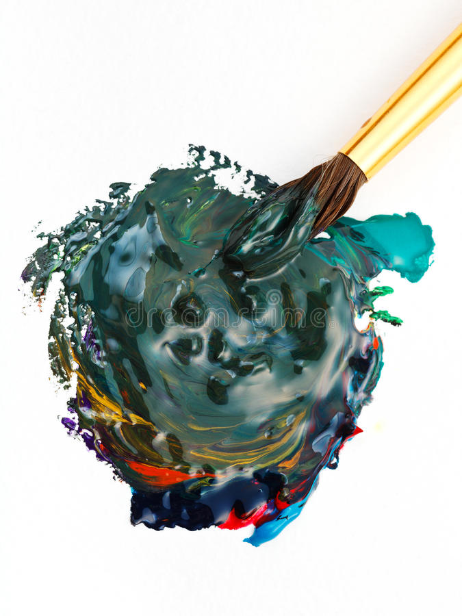 Paintbrush blends multicolored watercolors royalty free stock photography
