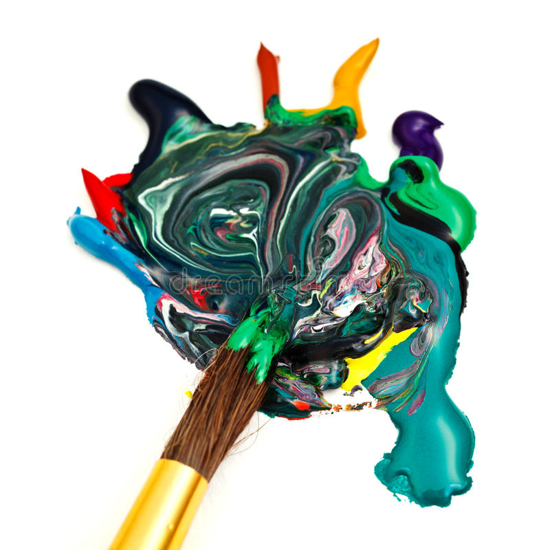 Paintbrush blends multicolored watercolors royalty free stock images