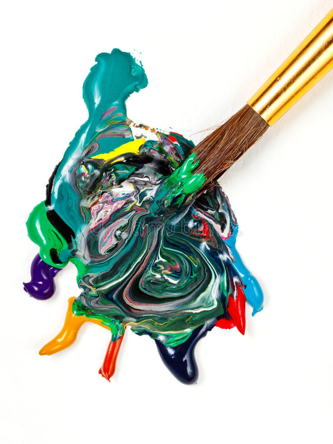 Paintbrush blends multicolored watercolors royalty free stock image