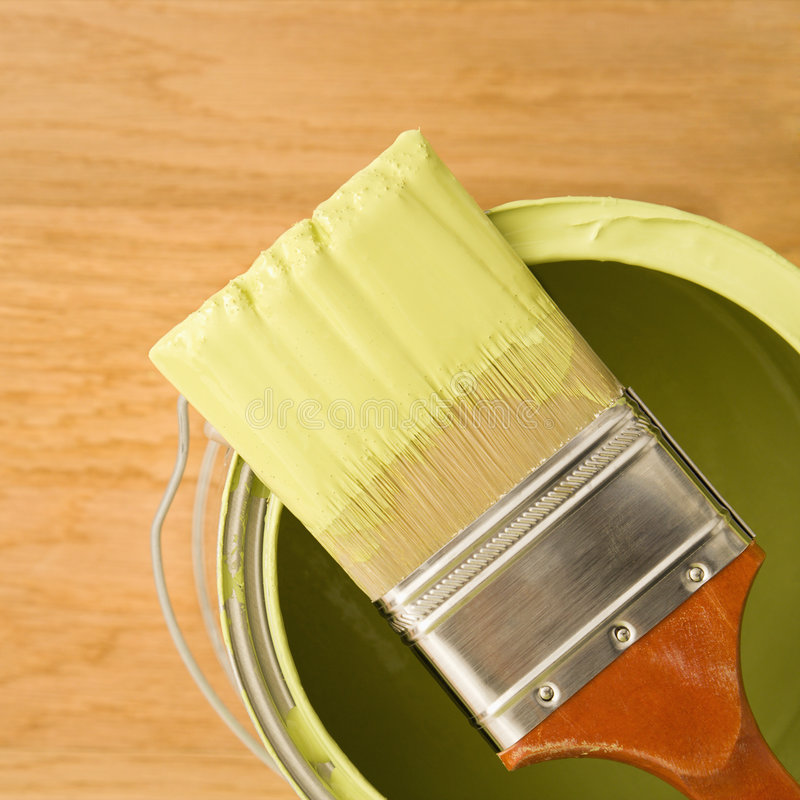 Paintbrush on can. royalty free stock photos