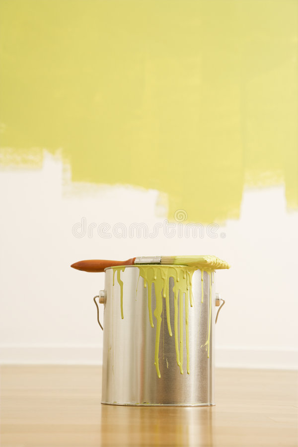 Paintbrush on can. royalty free stock photo