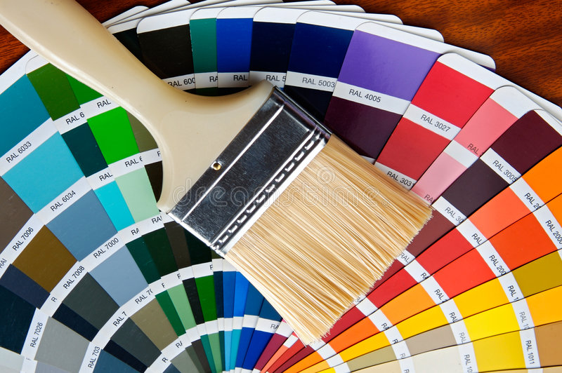 Download Paintbrush With Card Of Colors Stock Photo - Image: 5694572
