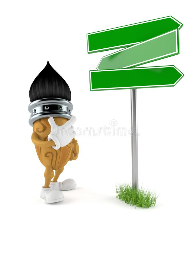 Paintbrush character with blank signpost. Isolated on white background vector illustration