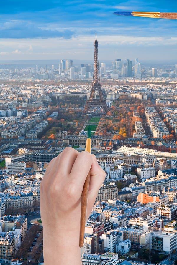 Paintbrush farby w zielonego colour champ de mars zdjęcie stock